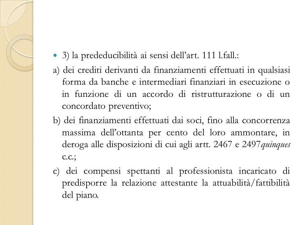 3) la prededucibilità ai sensi dellart.