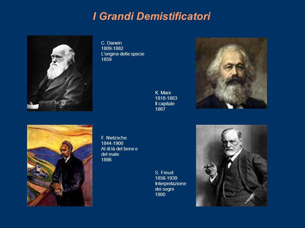 I Grandi Demistificatori C. Darwin 1809-1882 L'origine delle specie 1859 K. Marx 1818-1883 Il capitale 1867 F. Nietzsche 1844-1900 Al di là del bene e