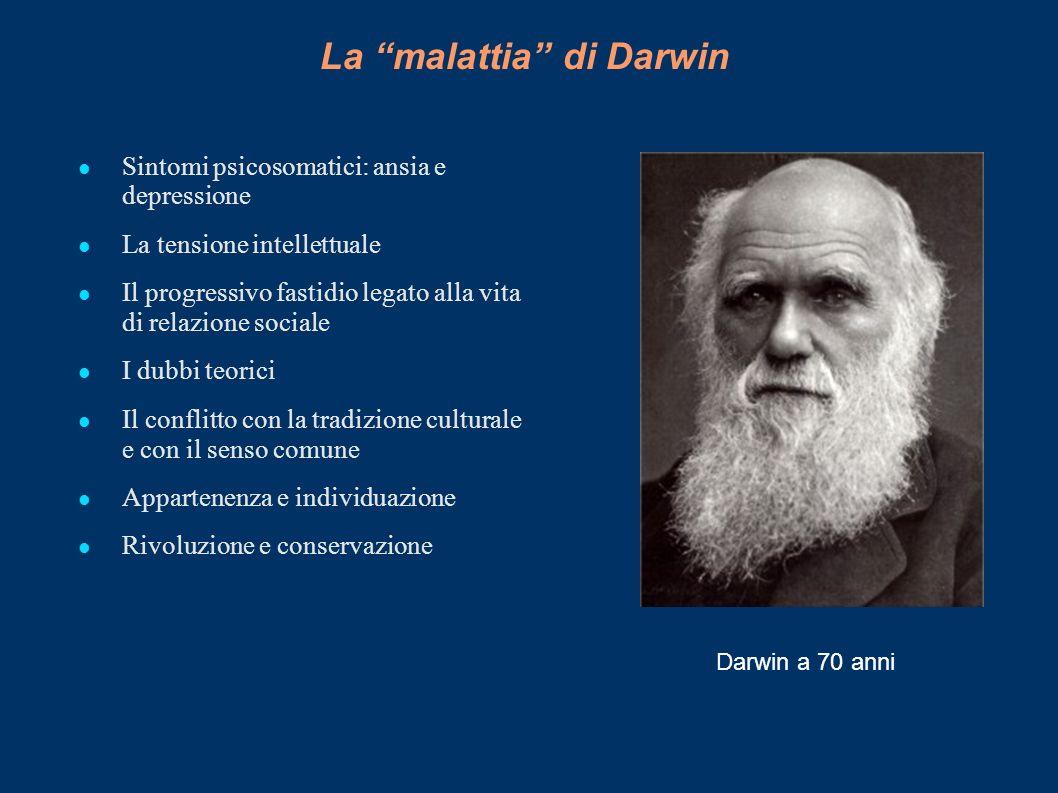 La malattia di Darwin Sintomi psicosomatici: ansia e depressione La tensione intellettuale Il progressivo fastidio legato alla vita di relazione socia
