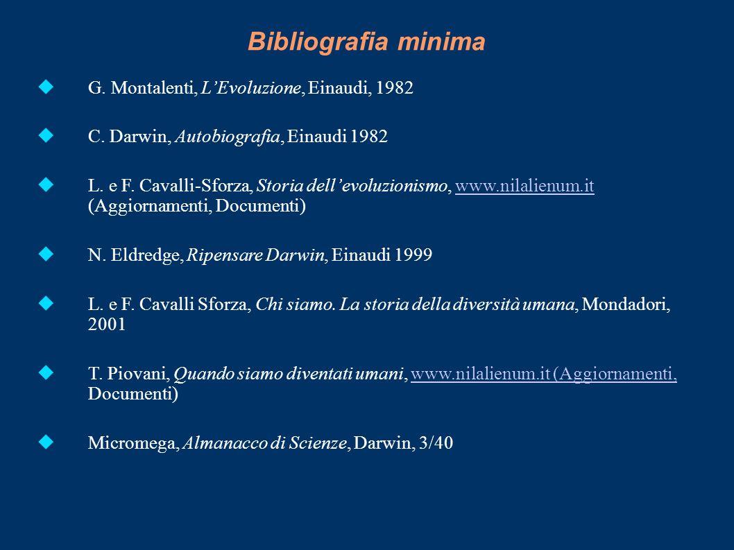 Bibliografia minima G. Montalenti, LEvoluzione, Einaudi, 1982 C. Darwin, Autobiografia, Einaudi 1982 L. e F. Cavalli-Sforza, Storia dellevoluzionismo,