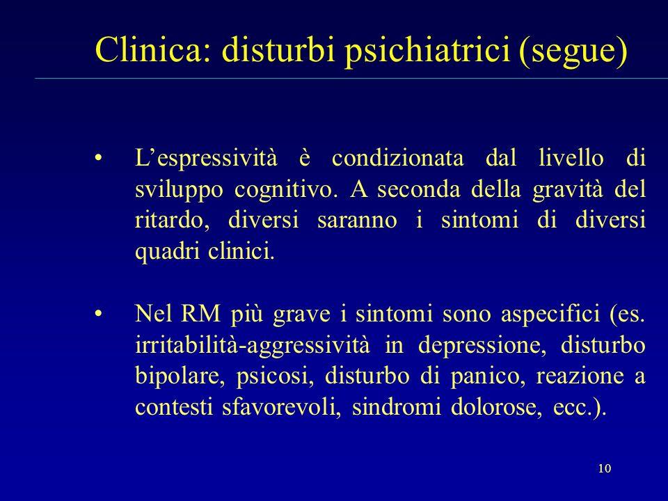 10 Clinica: disturbi psichiatrici (segue) Lespressività è condizionata dal livello di sviluppo cognitivo. A seconda della gravità del ritardo, diversi