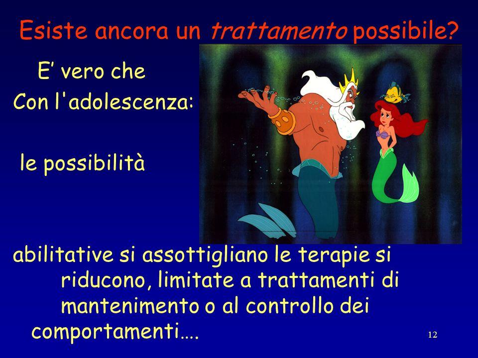12 Esiste ancora un trattamento possibile? E vero che Con l'adolescenza: le possibilità abilitative si assottigliano le terapie si riducono, limitate