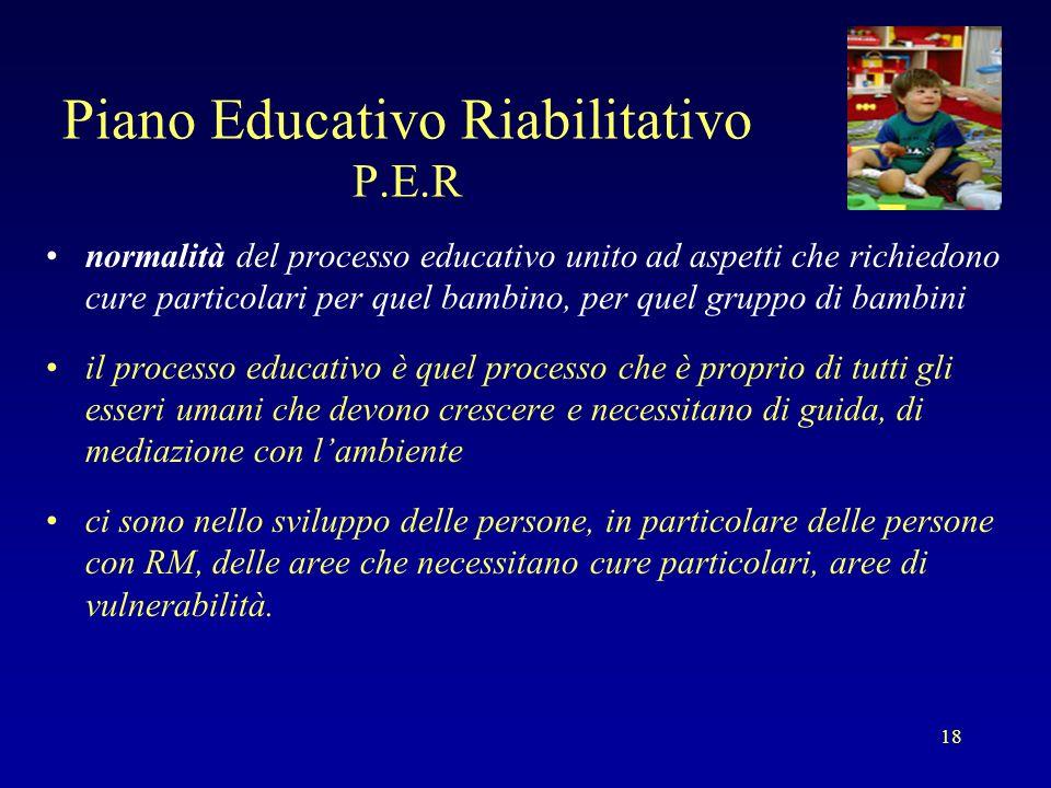 18 Piano Educativo Riabilitativo P.E.R normalità del processo educativo unito ad aspetti che richiedono cure particolari per quel bambino, per quel gr