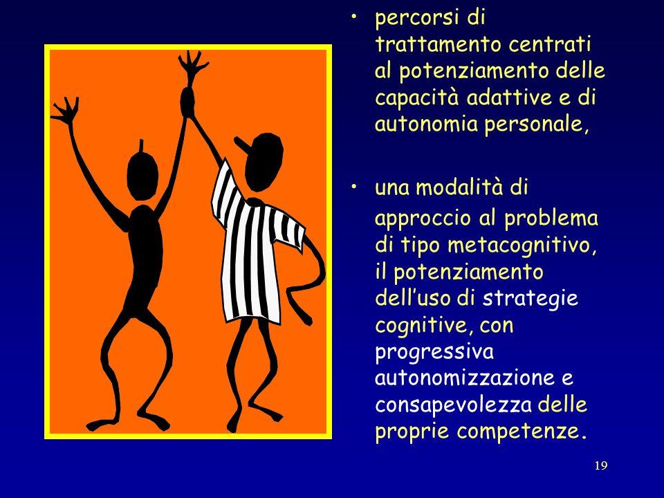19 percorsi di trattamento centrati al potenziamento delle capacità adattive e di autonomia personale, una modalità di approccio al problema di tipo m