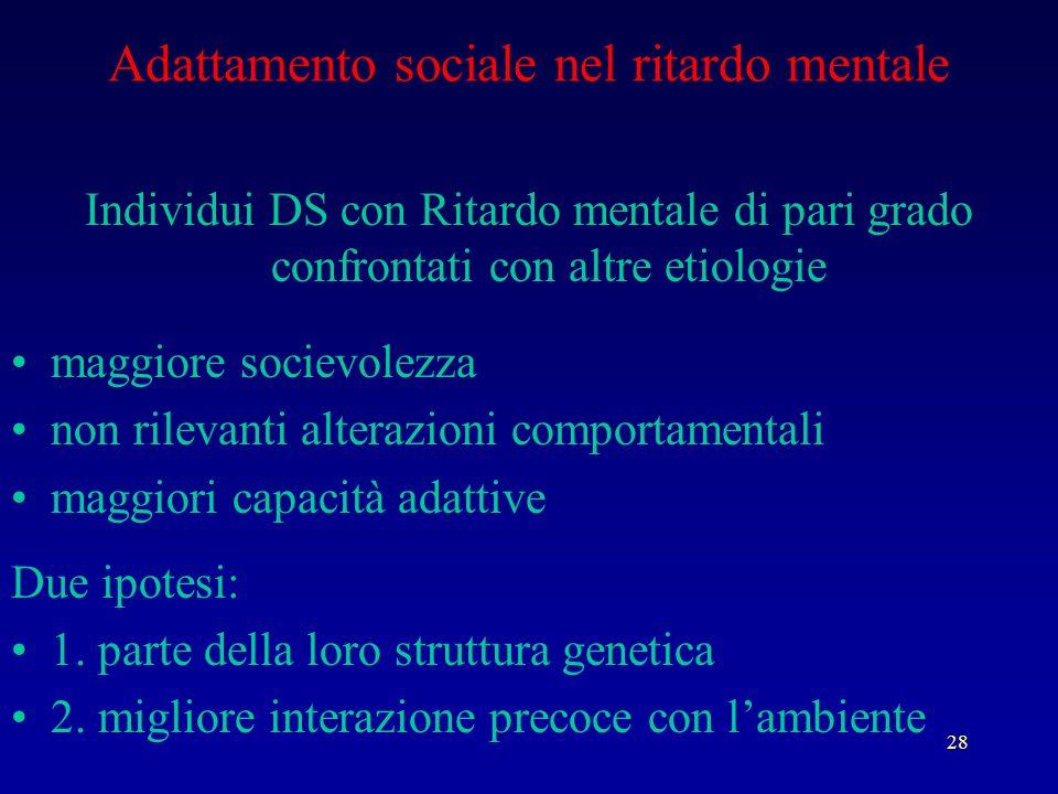 28 Adattamento sociale nel ritardo mentale Individui DS con Ritardo mentale di pari grado confrontati con altre etiologie maggiore socievolezza non ri