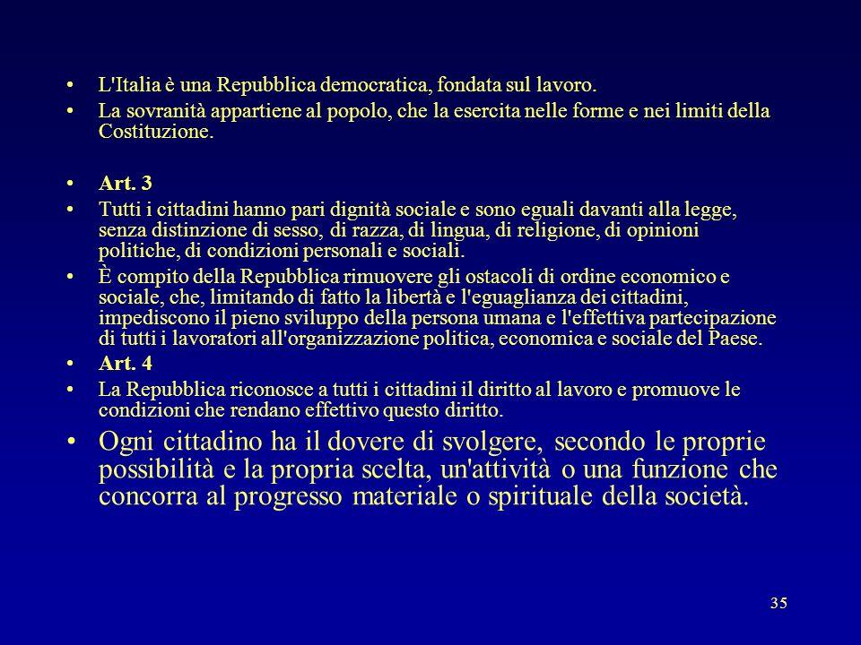 35 L'Italia è una Repubblica democratica, fondata sul lavoro. La sovranità appartiene al popolo, che la esercita nelle forme e nei limiti della Costit