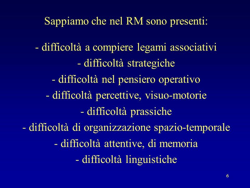6 Sappiamo che nel RM sono presenti: - difficoltà a compiere legami associativi - difficoltà strategiche - difficoltà nel pensiero operativo - diffico