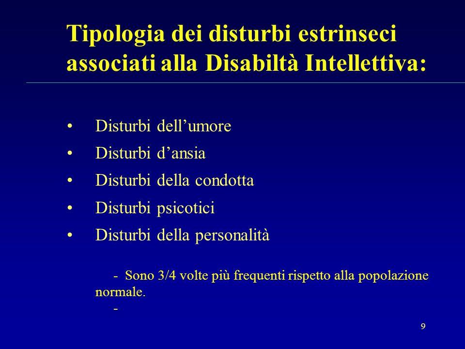 9 Tipologia dei disturbi estrinseci associati alla Disabiltà Intellettiva: Disturbi dellumore Disturbi dansia Disturbi della condotta Disturbi psicoti
