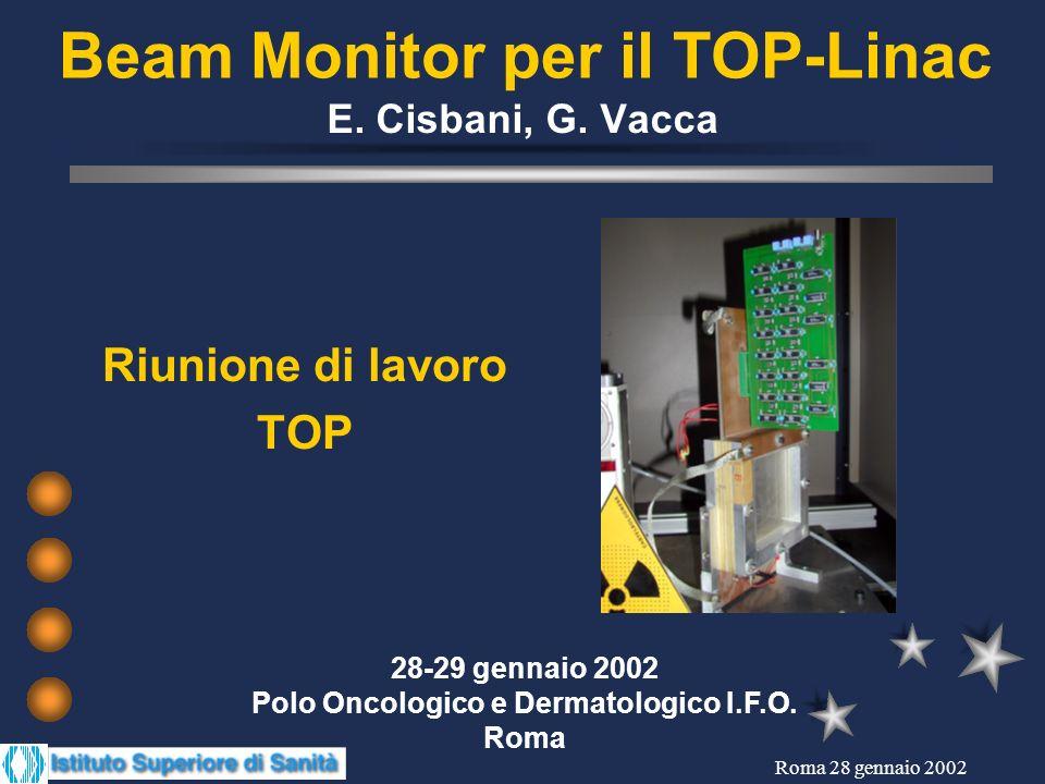 Roma 28 gennaio 2002 Beam monitor Pulsed beam: 400 Hz, 5 s low emittance B - diffused beam C - active modulation strip and Pad Ionization Chambers