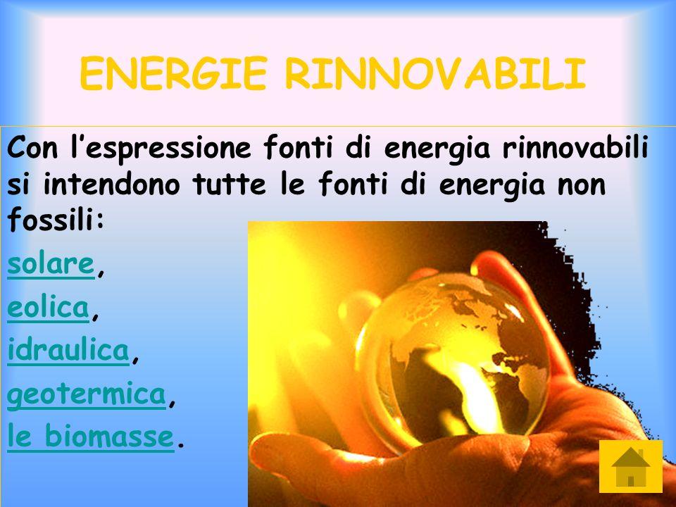 ENERGIE RINNOVABILI Con lespressione fonti di energia rinnovabili si intendono tutte le fonti di energia non fossili: solaresolare, eolicaeolica, idra