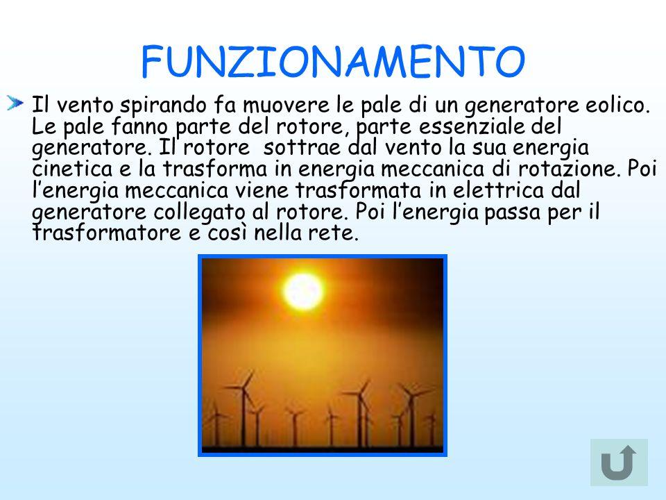 FUNZIONAMENTO Il vento spirando fa muovere le pale di un generatore eolico. Le pale fanno parte del rotore, parte essenziale del generatore. Il rotore