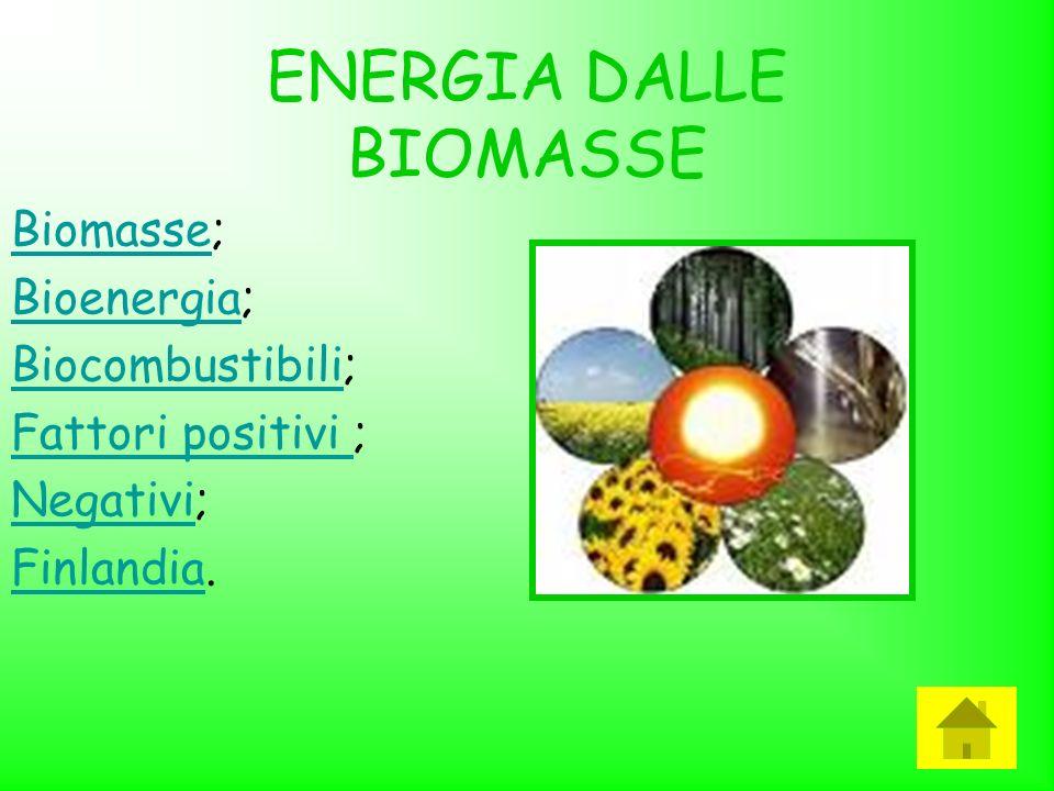 ENERGIA DALLE BIOMASSE BiomasseBiomasse; BioenergiaBioenergia; BiocombustibiliBiocombustibili; Fattori positivi Fattori positivi ; NegativiNegativi; F