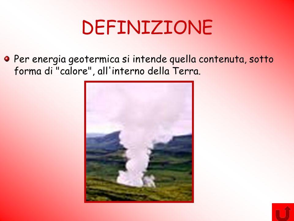 DEFINIZIONE Per energia geotermica si intende quella contenuta, sotto forma di