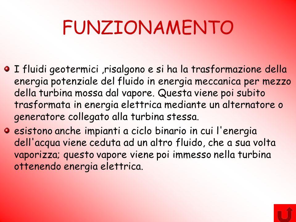 FUNZIONAMENTO I fluidi geotermici,risalgono e si ha la trasformazione della energia potenziale del fluido in energia meccanica per mezzo della turbina