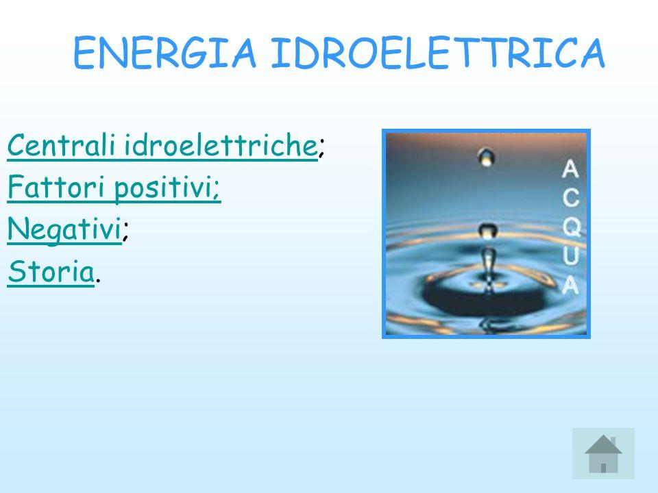 ENERGIA IDROELETTRICA Centrali idroelettricheCentrali idroelettriche; Fattori positivi; NegativiNegativi; StoriaStoria.