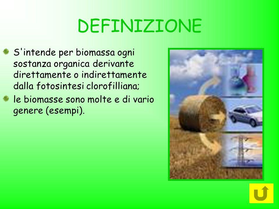 DEFINIZIONE S'intende per biomassa ogni sostanza organica derivante direttamente o indirettamente dalla fotosintesi clorofilliana; le biomasse sono mo