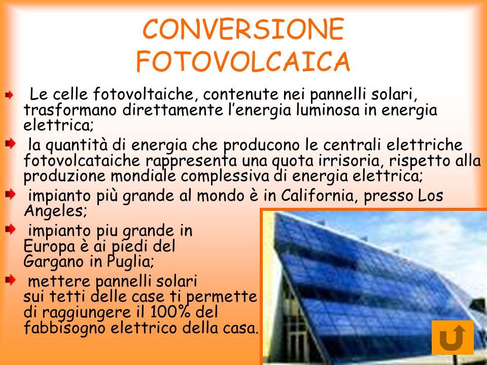 CONVERSIONE FOTOVOLCAICA Le celle fotovoltaiche, contenute nei pannelli solari, trasformano direttamente lenergia luminosa in energia elettrica; la qu