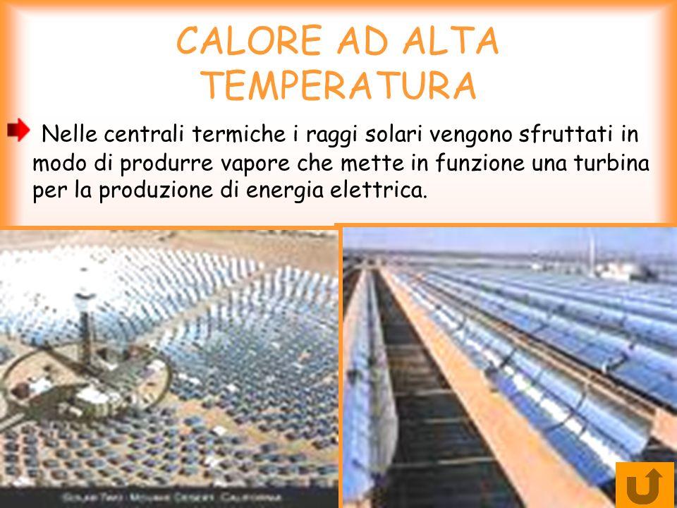 CALORE AD ALTA TEMPERATURA Nelle centrali termiche i raggi solari vengono sfruttati in modo di produrre vapore che mette in funzione una turbina per l