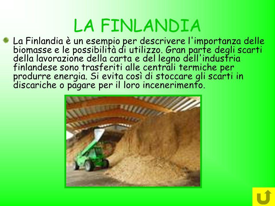 LA FINLANDIA La Finlandia è un esempio per descrivere l'importanza delle biomasse e le possibilità di utilizzo. Gran parte degli scarti della lavorazi