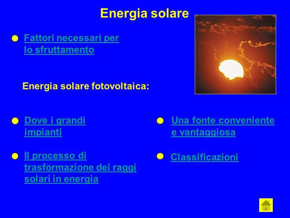 Energia solare Fattori necessari per lo sfruttamento Energia solare fotovoltaica: Dove i grandi impianti Il processo di trasformazione dei raggi solar