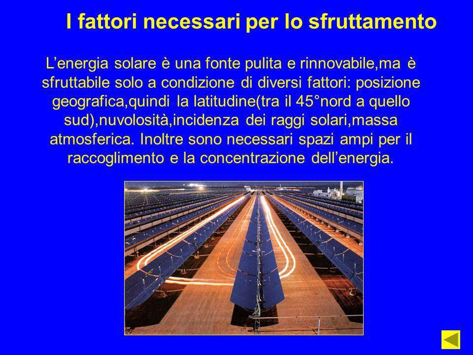 I fattori necessari per lo sfruttamento Lenergia solare è una fonte pulita e rinnovabile,ma è sfruttabile solo a condizione di diversi fattori: posizi