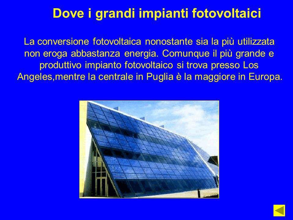 Dove i grandi impianti fotovoltaici La conversione fotovoltaica nonostante sia la più utilizzata non eroga abbastanza energia. Comunque il più grande
