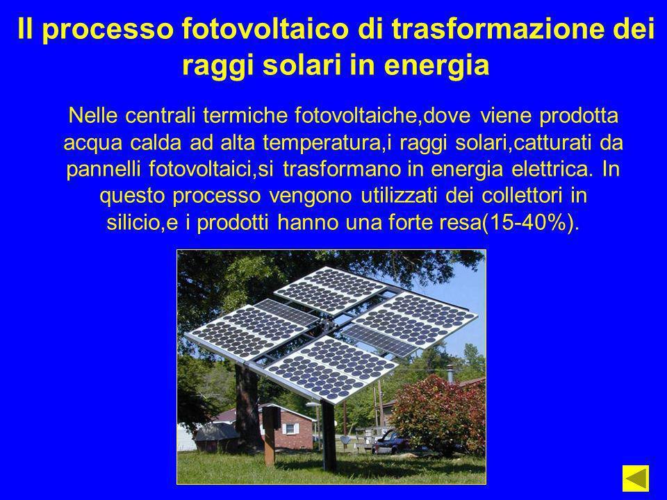 Il processo fotovoltaico di trasformazione dei raggi solari in energia Nelle centrali termiche fotovoltaiche,dove viene prodotta acqua calda ad alta t