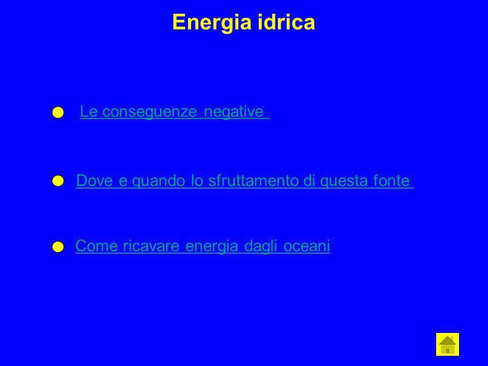 Energia idrica Le conseguenze negative Dove e quando lo sfruttamento di questa fonte Come ricavare energia dagli oceani
