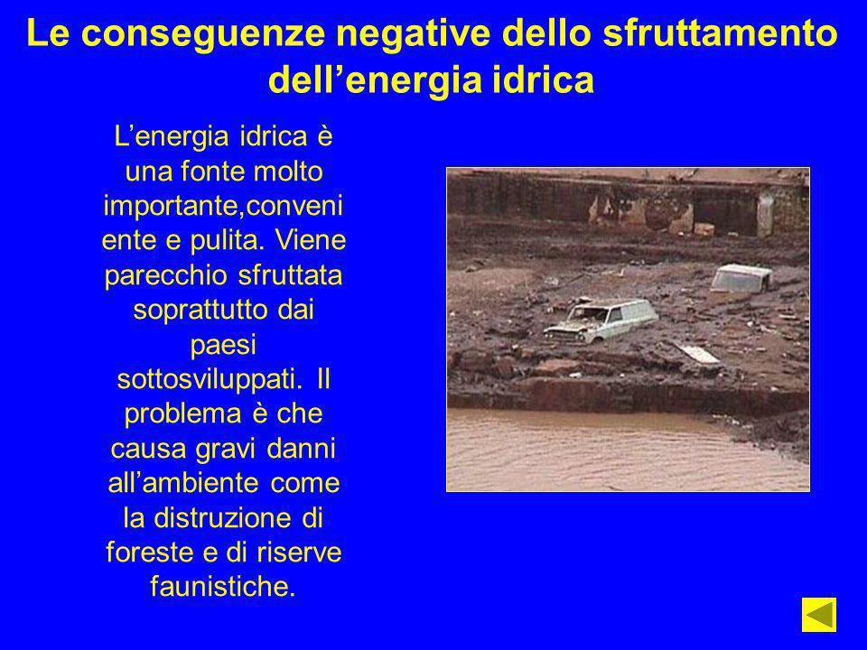 Le conseguenze negative dello sfruttamento dellenergia idrica Lenergia idrica è una fonte molto importante,conveni ente e pulita. Viene parecchio sfru