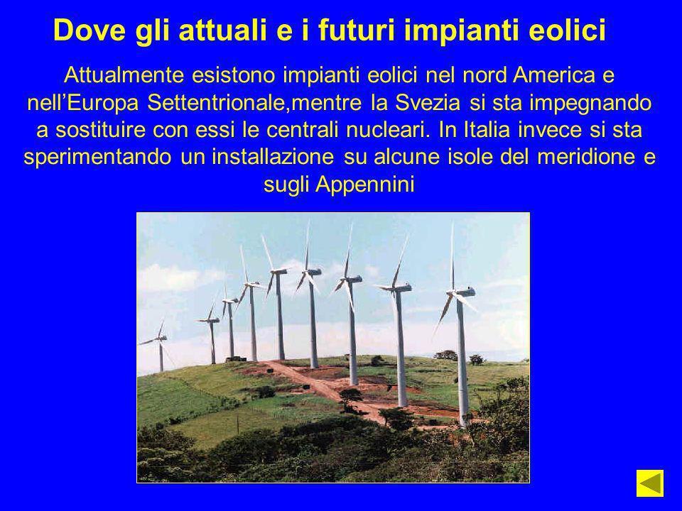 Dove gli attuali e i futuri impianti eolici Attualmente esistono impianti eolici nel nord America e nellEuropa Settentrionale,mentre la Svezia si sta