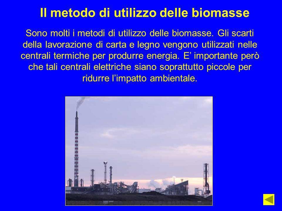 Il metodo di utilizzo delle biomasse Sono molti i metodi di utilizzo delle biomasse. Gli scarti della lavorazione di carta e legno vengono utilizzati