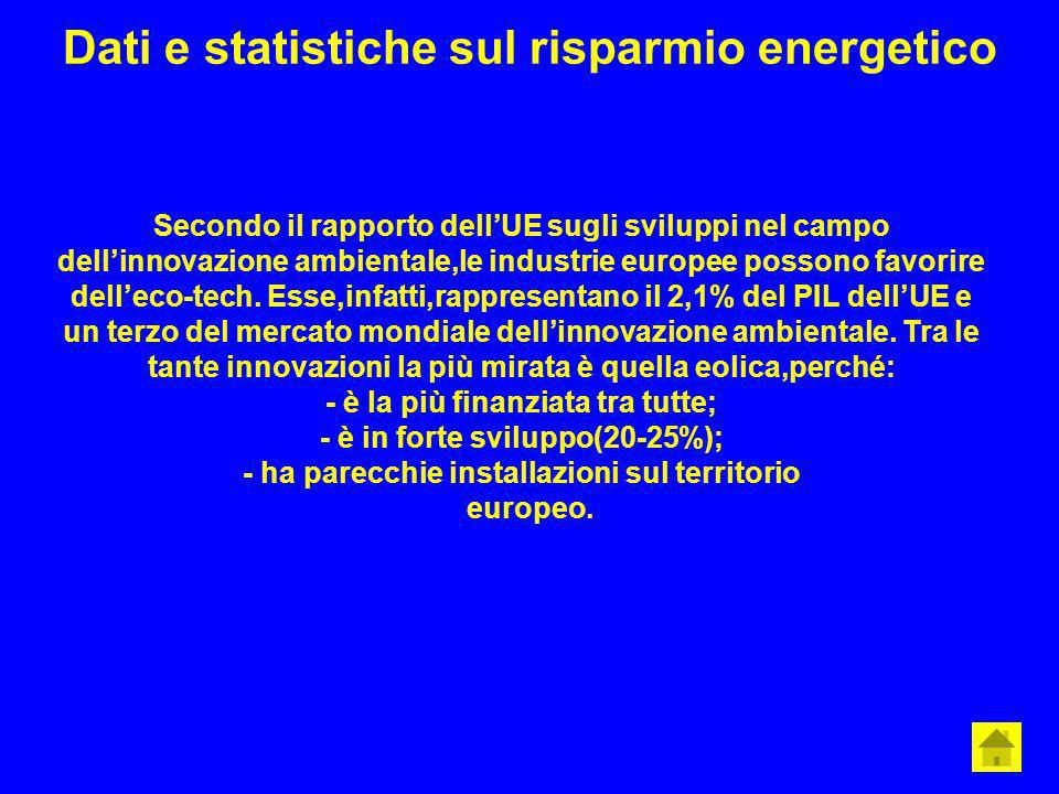 Dati e statistiche sul risparmio energetico Secondo il rapporto dellUE sugli sviluppi nel campo dellinnovazione ambientale,le industrie europee posson