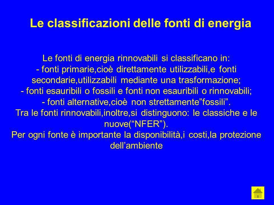 Le classificazioni delle fonti di energia Le fonti di energia rinnovabili si classificano in: - fonti primarie,cioè direttamente utilizzabili,e fonti