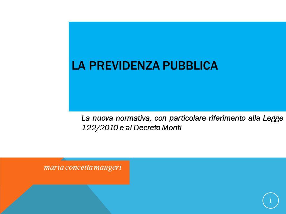 LA PREVIDENZA PUBBLICA 1 La nuova normativa, con particolare riferimento alla Legge 122/2010 e al Decreto Monti maria concetta maugeri