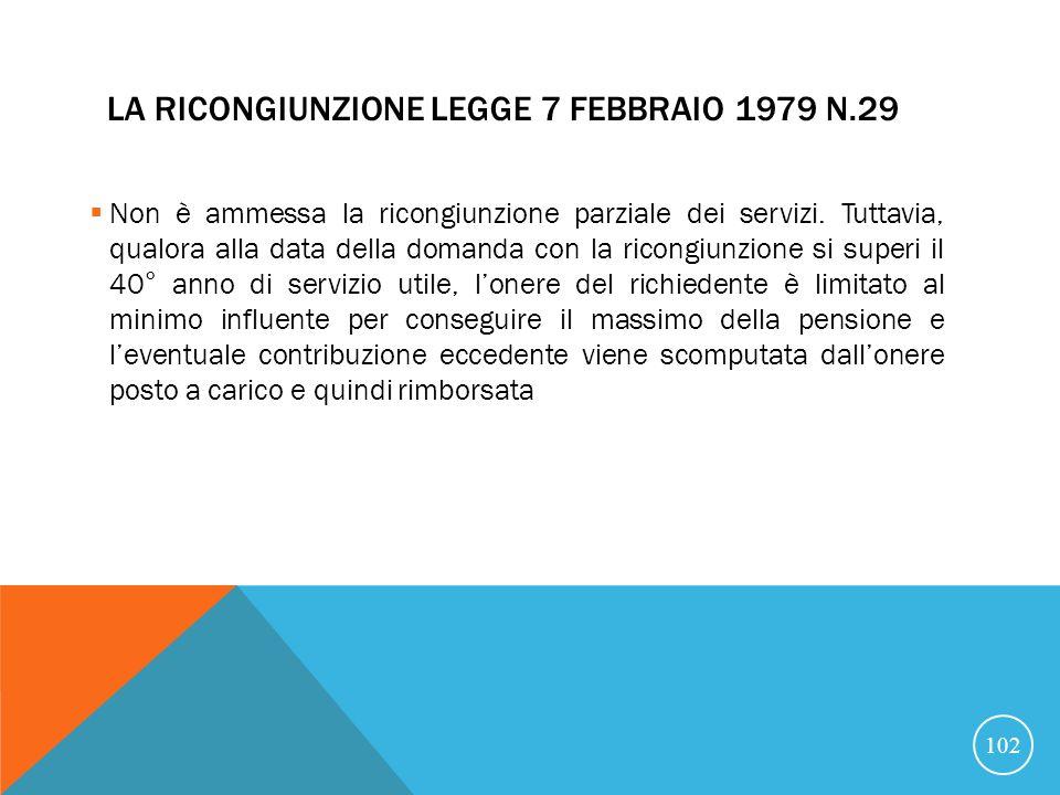 LA RICONGIUNZIONE LEGGE 7 FEBBRAIO 1979 N.29 Non è ammessa la ricongiunzione parziale dei servizi.