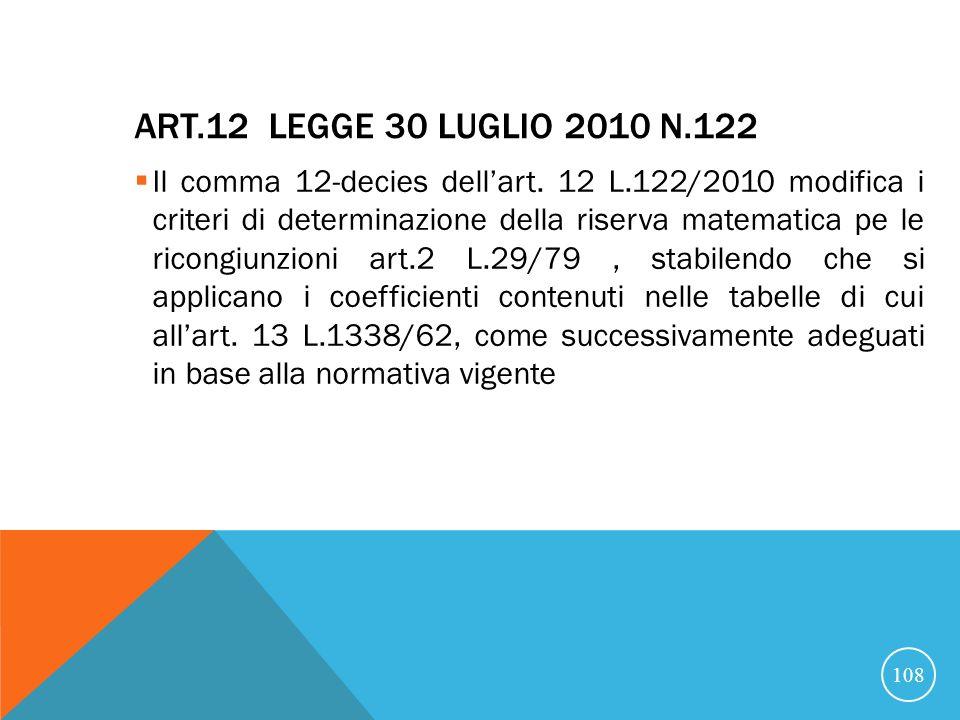 ART.12 LEGGE 30 LUGLIO 2010 N.122 Il comma 12-decies dellart.