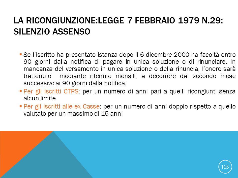 LA RICONGIUNZIONE:LEGGE 7 FEBBRAIO 1979 N.29: SILENZIO ASSENSO Se liscritto ha presentato istanza dopo il 6 dicembre 2000 ha facoltà entro 90 giorni dalla notifica di pagare in unica soluzione o di rinunciare.