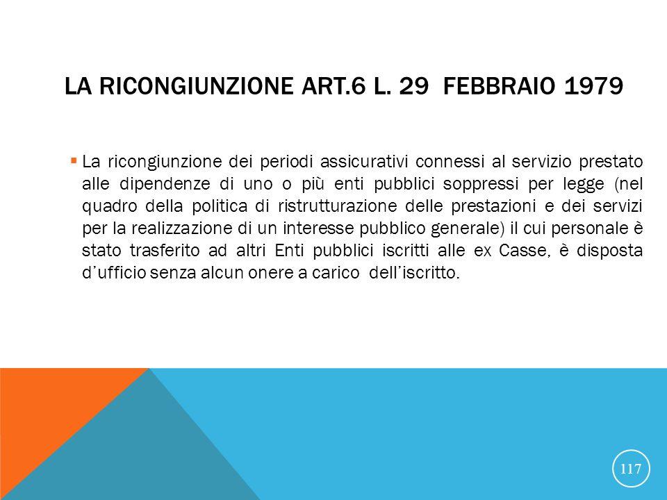LA RICONGIUNZIONE ART.6 L.