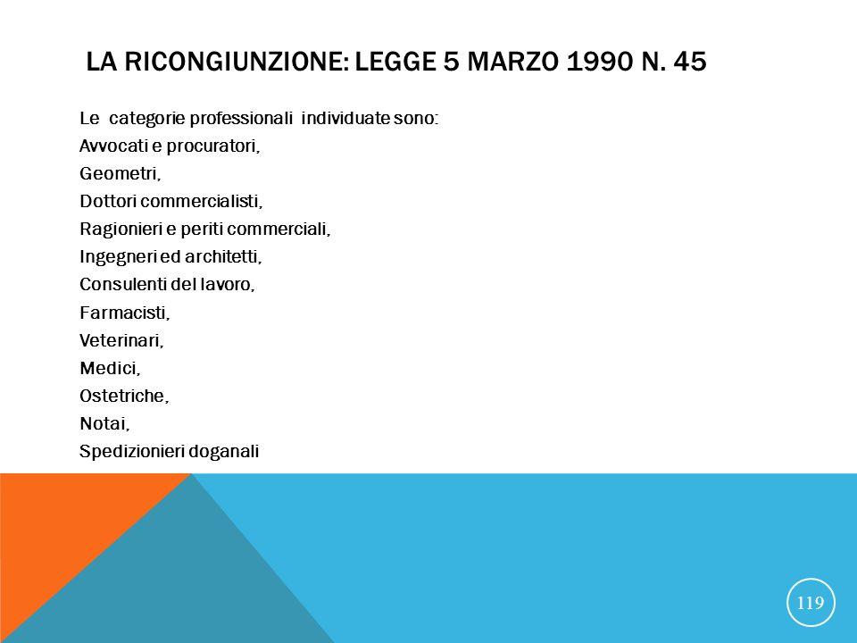 LA RICONGIUNZIONE: LEGGE 5 MARZO 1990 N.