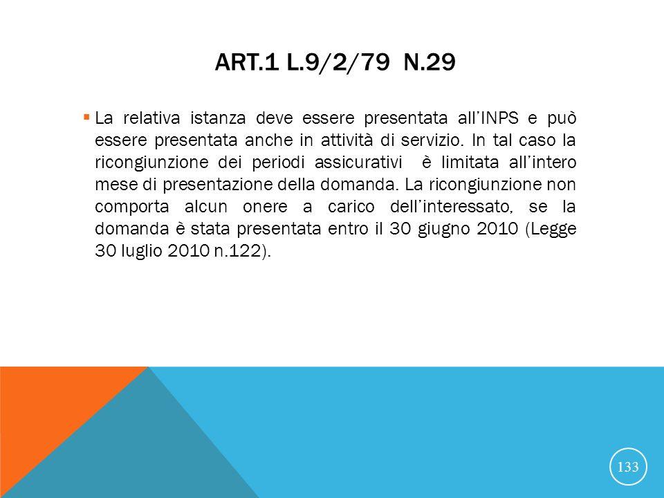 ART.1 L.9/2/79 N.29 La relativa istanza deve essere presentata allINPS e può essere presentata anche in attività di servizio.