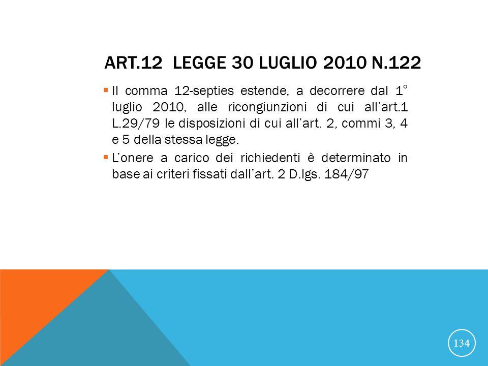 ART.12 LEGGE 30 LUGLIO 2010 N.122 Il comma 12-septies estende, a decorrere dal 1° luglio 2010, alle ricongiunzioni di cui allart.1 L.29/79 le disposizioni di cui allart.