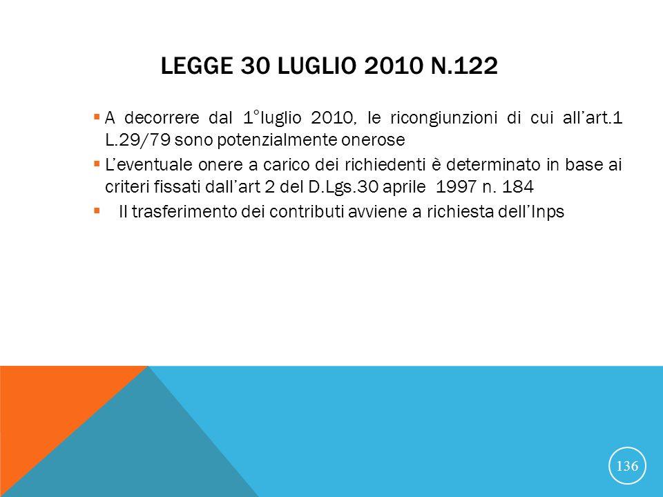 LEGGE 30 LUGLIO 2010 N.122 A decorrere dal 1°luglio 2010, le ricongiunzioni di cui allart.1 L.29/79 sono potenzialmente onerose Leventuale onere a carico dei richiedenti è determinato in base ai criteri fissati dallart 2 del D.Lgs.30 aprile 1997 n.