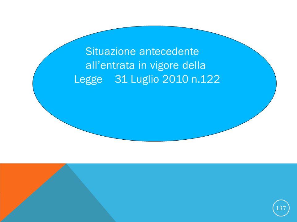 137 Situazione antecedente allentrata in vigore della Legge 31 Luglio 2010 n.122