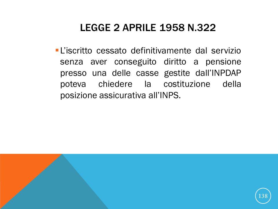LEGGE 2 APRILE 1958 N.322 Liscritto cessato definitivamente dal servizio senza aver conseguito diritto a pensione presso una delle casse gestite dallINPDAP poteva chiedere la costituzione della posizione assicurativa allINPS.