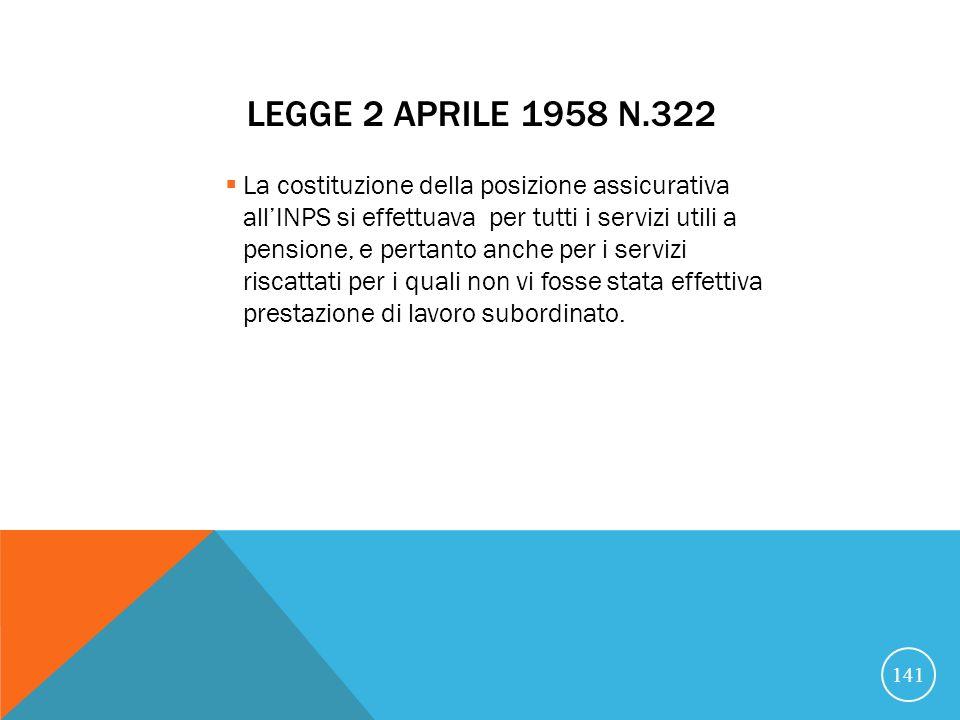 LEGGE 2 APRILE 1958 N.322 La costituzione della posizione assicurativa allINPS si effettuava per tutti i servizi utili a pensione, e pertanto anche per i servizi riscattati per i quali non vi fosse stata effettiva prestazione di lavoro subordinato.