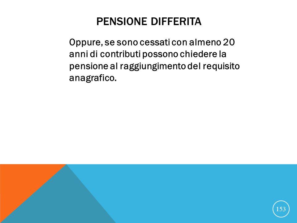 PENSIONE DIFFERITA Oppure, se sono cessati con almeno 20 anni di contributi possono chiedere la pensione al raggiungimento del requisito anagrafico.