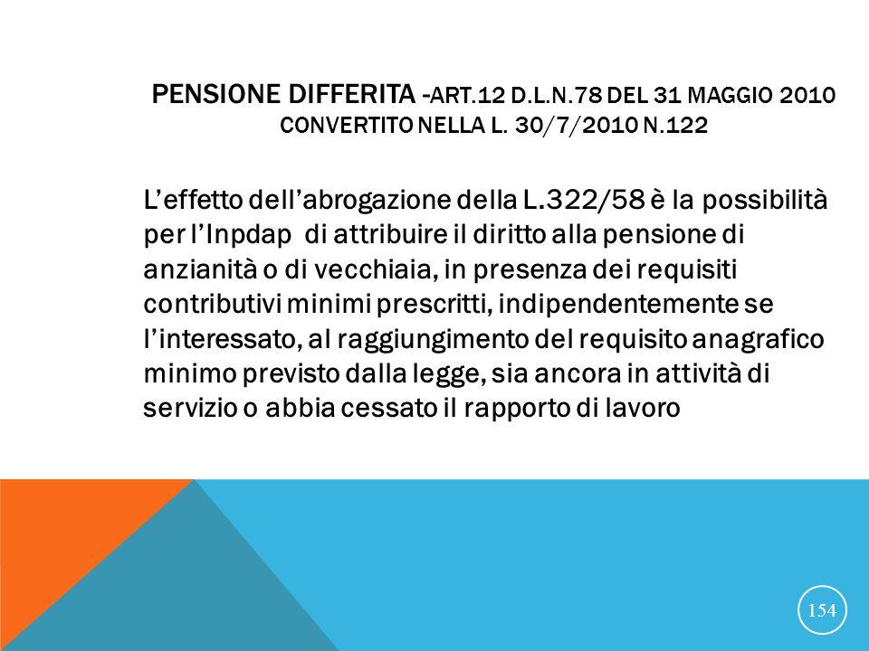 PENSIONE DIFFERITA - ART.12 D.L.N.78 DEL 31 MAGGIO 2010 CONVERTITO NELLA L.