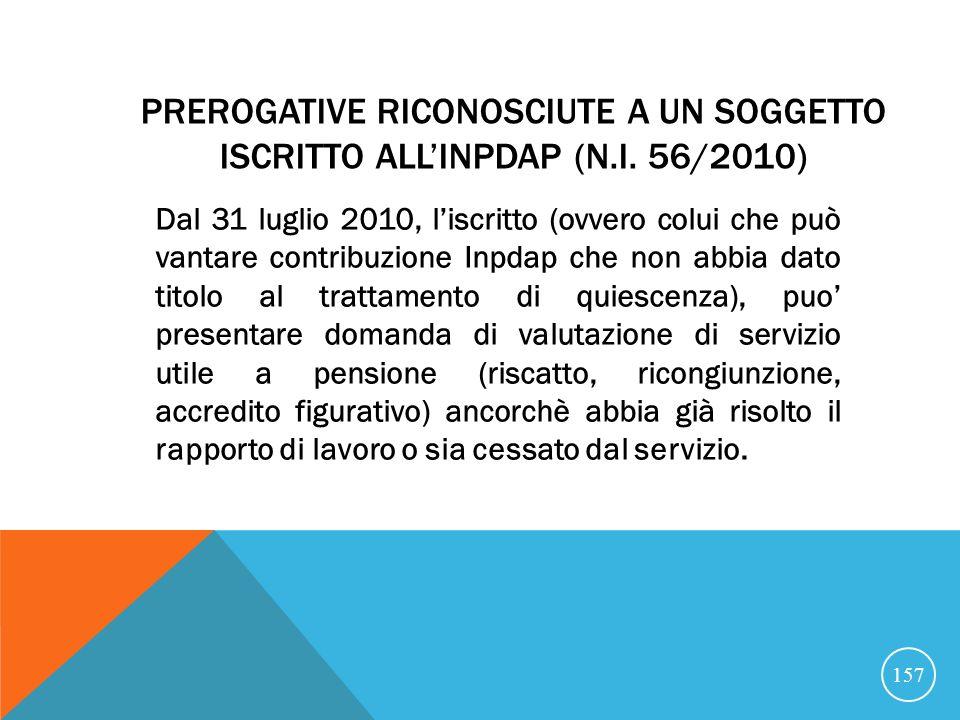 PREROGATIVE RICONOSCIUTE A UN SOGGETTO ISCRITTO ALLINPDAP (N.I.