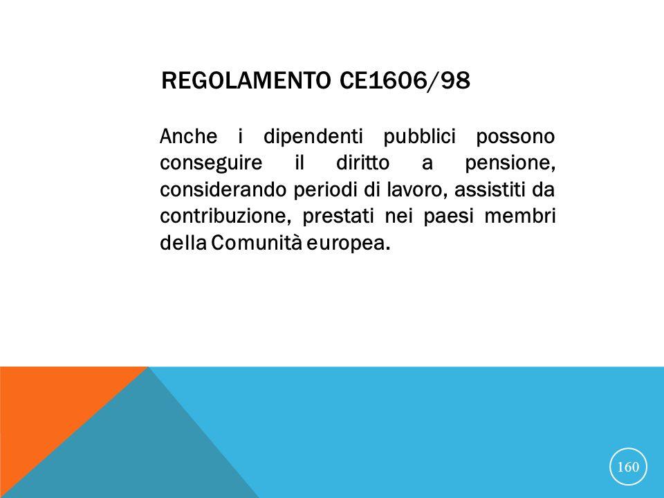 REGOLAMENTO CE1606/98 Anche i dipendenti pubblici possono conseguire il diritto a pensione, considerando periodi di lavoro, assistiti da contribuzione, prestati nei paesi membri della Comunità europea.