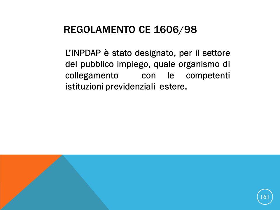 REGOLAMENTO CE 1606/98 LINPDAP è stato designato, per il settore del pubblico impiego, quale organismo di collegamento con le competenti istituzioni previdenziali estere.